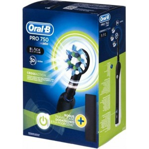 ηλεκτρική οδοντόβουρτσα Oral-B Pro 750 Cross Action Black Edition 3D Action & Bonus Travel Case D16.513