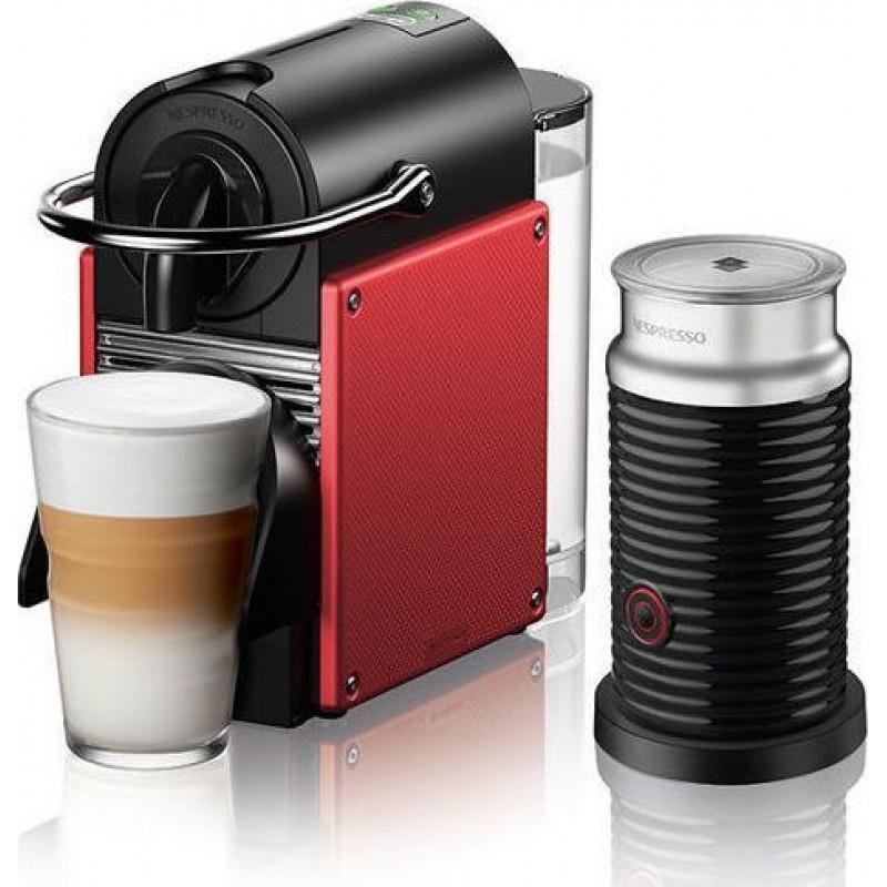 Delonghi ΕΝ124.RAE Pixie Carmine Red & Aeroccino Μηχανή Nespresso (Δώρο 14 Κάψουλες + Κουπόνι για κάψουλες αξίας 30 ευρώ)