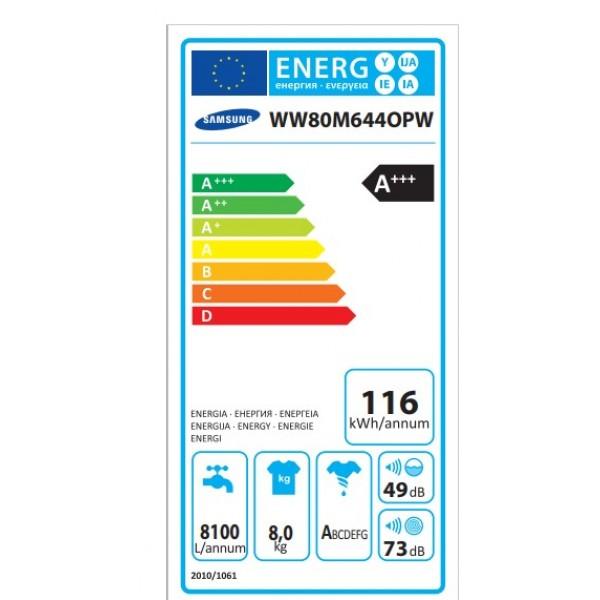 πλυντήριο ρούχων Samsung WW80M644OPW/LV(8kg,A+++) (δωροεπιταγή/prepaid card 200€) (23/09/2019 έως και 16/11/2019)